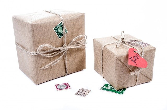 Wrapped cardboard boxes