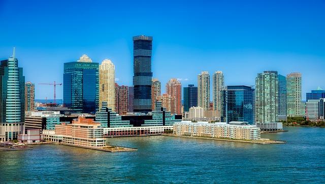 Skyline of Jersey City, New Jersey.