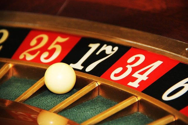 Roulette with the ball close to lucky number seventeen.